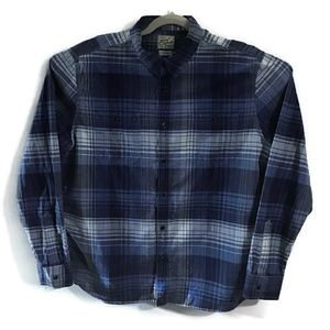 Lucky Brand blue cotton plaid button up. XL
